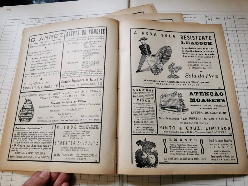1951 Vintage Portuguese Farmers Magazine Advertising sheets Junk Journaling collage scrapbooking Set of 5 double sheets craft Supplies