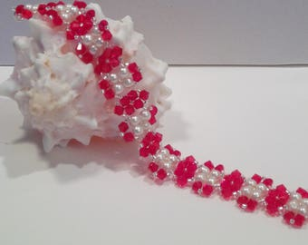 Saturday Night Bracelet in Red Crystals
