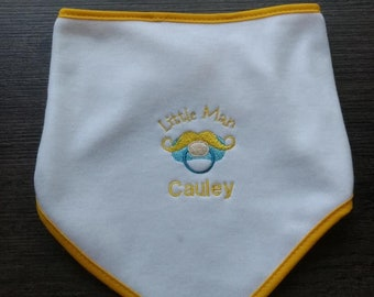 Moustache Desig Personalised Baby Bandana  Dribble Bib with Initial Great Gift