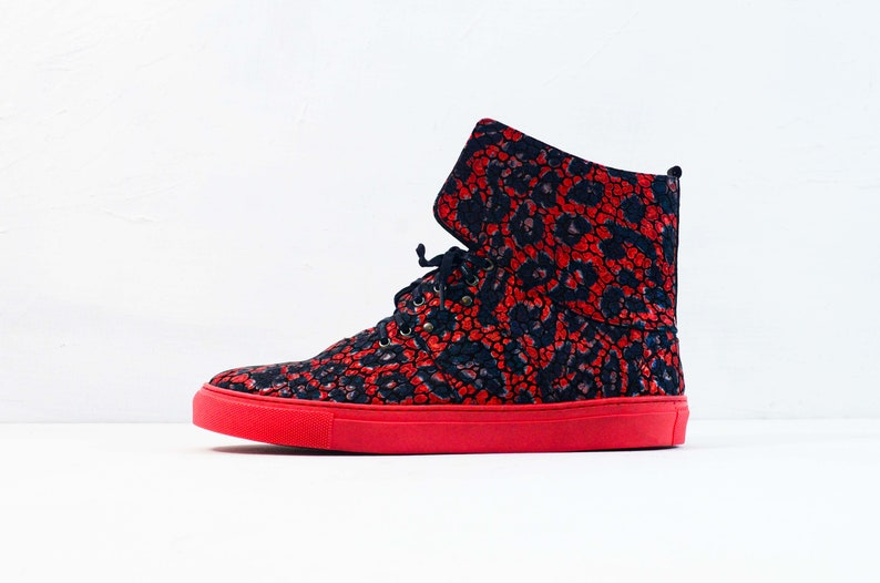 Handmade Hand-Sewn Leather Cowhide High Sneakers Shoes Women Unique Red SNEEK Red Sonja Interchangeable Accessories