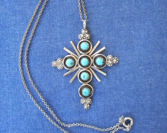 Vintage Native American Art * Sterling and Turquoise Cross * signed Myra T Qualo * 1980's