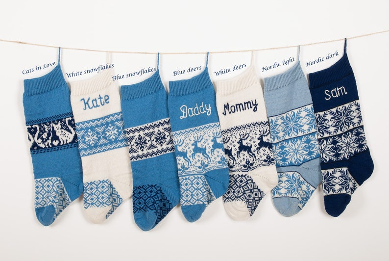 Personalized Christmas Stockings Family Christmas Stocking Blue Knitted Christmas Stockings With Handmade Stitching Knit Socks Gift Idea