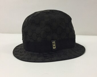 2f76eeef733 Authentic Gucci Bucket Hat - Vintage Gucci Monogram Bucket Hat Made in  Italy - Size S