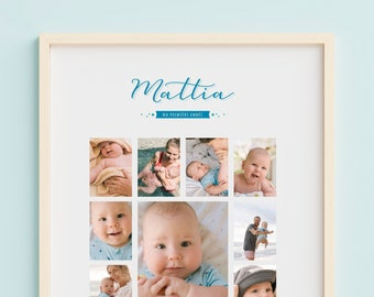 """Poster """"My First Year"""" - Baby's First 12 Months - Memories for Life! - Birth gift - 1st birthday gift"""