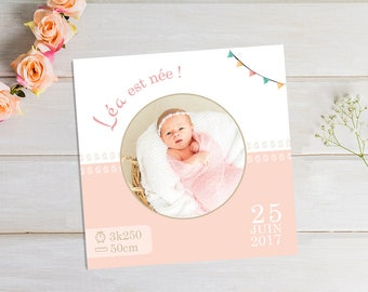 Customizable square birth girl with little feet and party banner