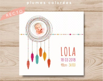 Customizable square birth-share girl colorful feathers
