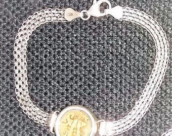 Silver bracelet set with ancient coin, Poor widows mite, Masada coin, King Agrippina coin or Roman coin.