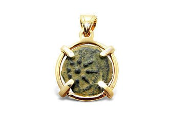 14K Gold pendant set with ancient coin, Poor widow's mite, Masada, King Agrippina, or Roman coin.