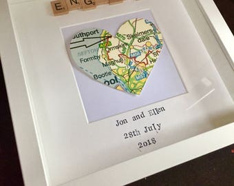 Personalised engagement frame, gift for best friend, heart map frame, scrabble frame, personalised map, engagement, anniversary, marriage,
