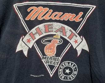487588cf5 Distressed Vintage 80s Miami Heat Nutmeg Mills T Shirt - XL - XXL - 80s T  Shirt - 1980s T Shirt - NBA T Shirt - Distressed Tee - Basketball