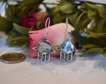Abalone Shell Earrings Hand of Fatima, Sterling Silver 925