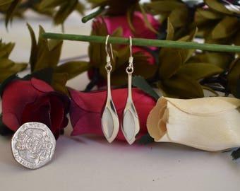 Mother of Pearl Earrings, Sterling Silver 925
