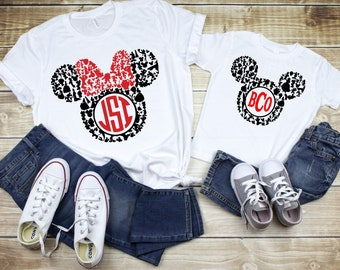 33db64afb Adult, Youth, Toddler, Infant Mickey and Minnie Silhouette Circle Monogram  Frame Printed Graphic Tee, Family Disney Shirts. PressForwardPrinting