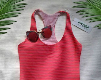 Flashy Coral Red Hot Pink Striped One Piece Swimsuit