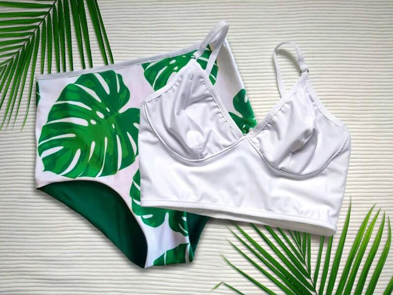 5e7c40c23afad Green Tropical Print Bikini Set with Monstera Leaf Print and