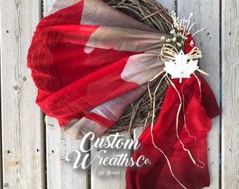 Canada Wreath - Canadian Flag - Canada Day - Rustic Decor - Patriotic - Maple Leaf