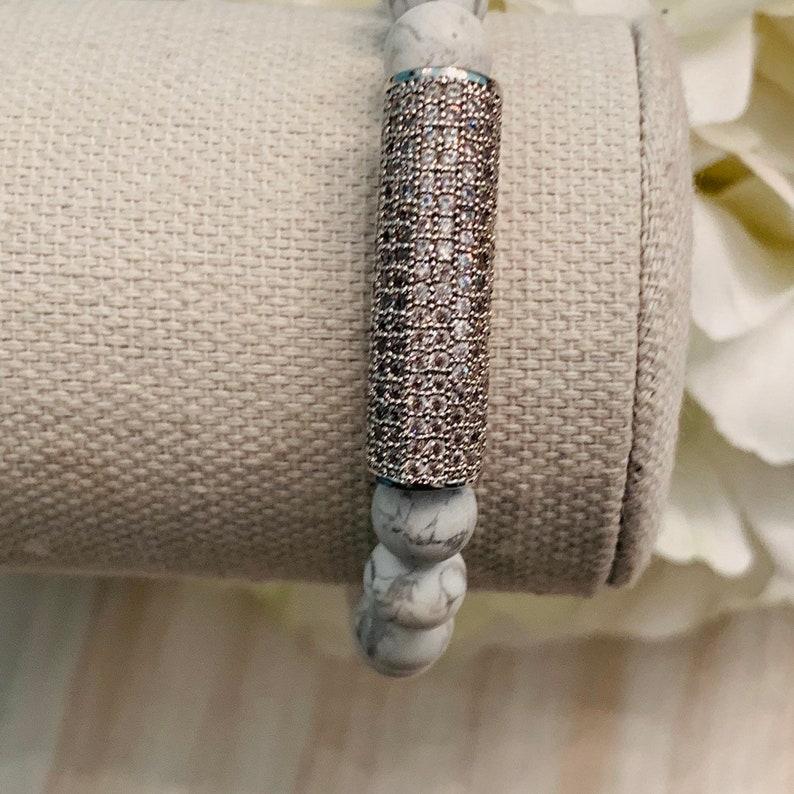 Howite and Pave Bar Bracelet Pave Bracelet Bead Bracelets For Women