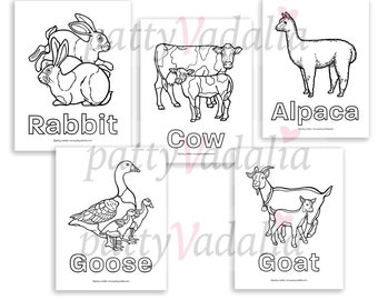 Five Realistic Farm Animal Coloring Pages Horse Pig Etsy