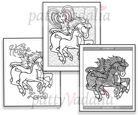 Horse Coloring Pages. 3 Downloadable Coloring Pages. Horse Lover Coloring  Pages. Horses to Color. Printable Coloring Page. Instant Download