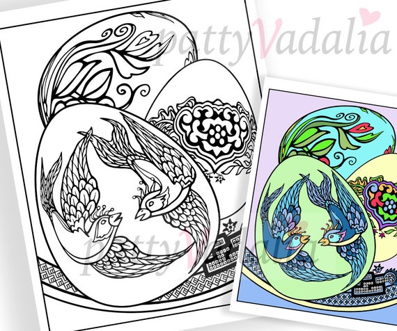 Easter Coloring Pages Printable Coloring Pages Easter Eggs Etsy