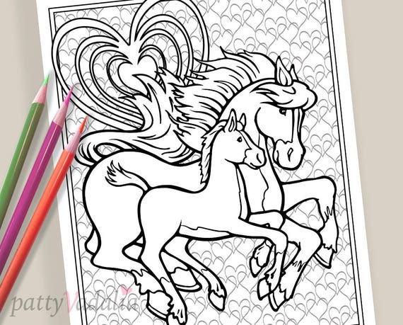 Horse Baby Horse Foal Coloring Coloring Page Coloring Pages For Kids And Adults Adult Coloring Pages Printables Instant Download