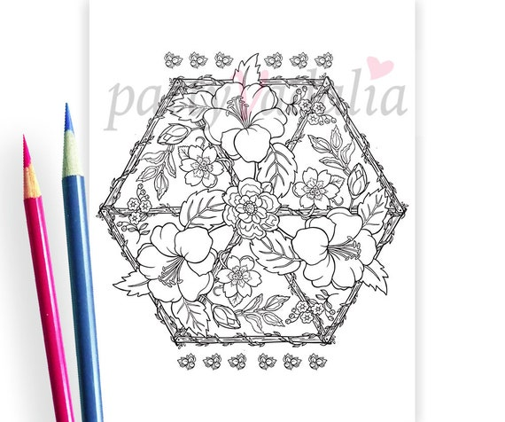 Realistic Hibiscus Mandala Botanical Coloring Pages High | Etsy