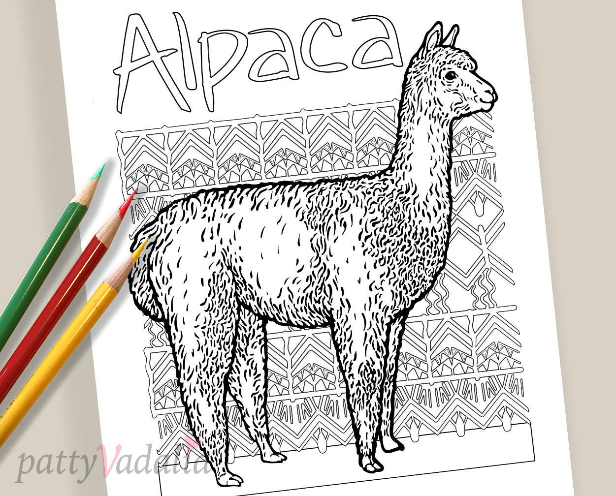 alpaca coloring page for all ages peruvian pattern etsy etsy