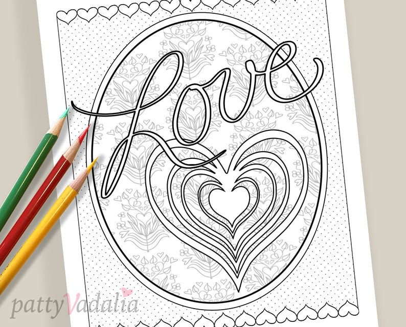 Love Coloring Pages. Downloadable Love Coloring Page. Coloring Pages for  Kids and Adults. Adult Coloring Pages. Printables. Instant Download