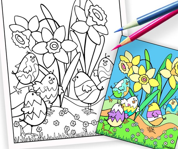Easter. Coloring Pages. Cool Chicks. Coloring for Easter. Art Print. Adult  Coloring Pages. Printable. Coloring for Teens. Instant Download.