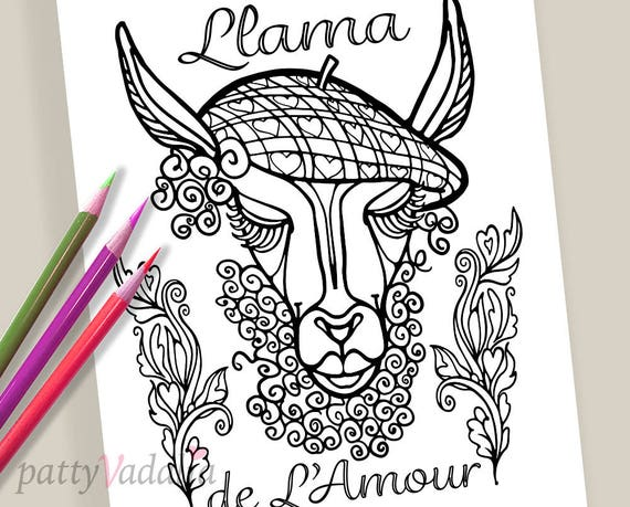 Llama Coloring Page Instant Download Adult Coloring Page Etsy