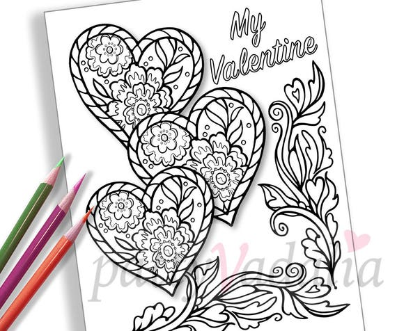 Hearts Coloring Page. Downloadable Valentines. Adult Coloring Pages.  Valentines to Color. Printables. Instant Download. Adult Coloring Sheet