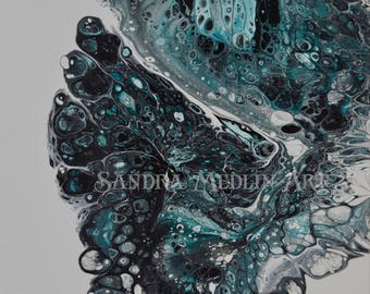 12x12 Original Acrylic Pour Painting on Canvas Number 5- Gallery Wrapped on 1.5 inch frame coated with resin