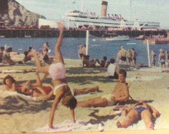 Vintage Linen Postcard SS Avalon Steam Ship Catalina Island Crescent Beach Volleyball Sunbathers Calif Vacation Spot Fun in the Sun