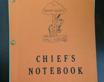 Vintage Los Angeles YMCA Indian Guide Chief Training Note Book Boys Activities Events Meetings Rituals Songs Prayers