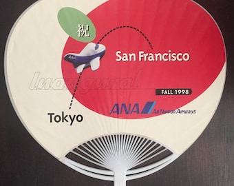 Vintage Air Travel All Nippon Airways ANA Airline Schedule Advertising Fan Inaugural Non Stop Flight San Francisco to Tokyo Service