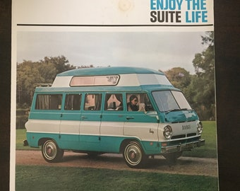 Vintage Car Brochure Dodge Travco Motor Home RV Van Turquoise White Color Combination 1960s Throwback Roadtrip Business Executive Suite