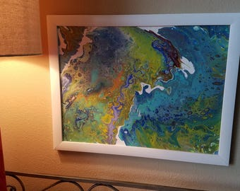 """12"""" x 16"""" framed acrylic pour painting on canvas"""