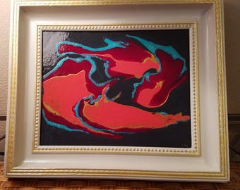 """Yin and Yang 8"""" x 10"""" framed acrylic pour painting"""