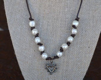 Large Freshwater Pearls on Leather