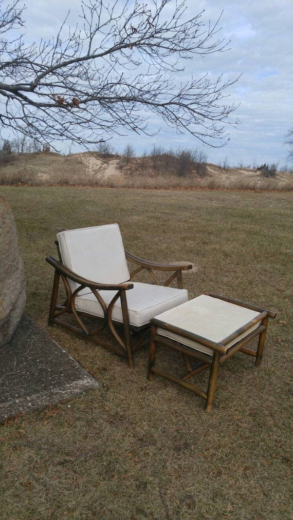 Vintage Bamboo Patio/Deck Chair & Ottoman