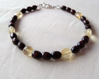 Citrine bracelet, Gemstone bracelet, bracelets for men, unisex bracelet, wood bracelet, crystal bracelet, yellow bracelet, citrine, hand cut