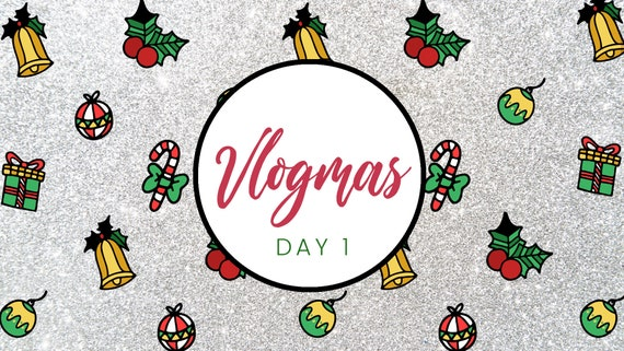 Youtube Christmas.Vlogmas Glitter Youtube Video Intro Template For Christmas Candycane Present And Jingle Bell