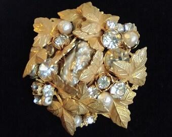 Sale Unusual Design! was 32.00 Vintage Rhinestone Goldtone Demi Parure~  Brooch /& Clip Earrings