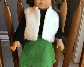 "Fur vest with t-shirt and skirt fit 18"" dolls such as American girl"
