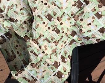 Monkey baby blanket on green background