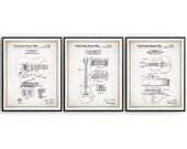 Guitar Collection - 1955-1967 - Patents - Set of 3 - Fender - Gibson - Gretsch - Guitarist Gift - Guitar Decor - Guitar art - Unframed