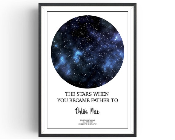 Personalised Star Map Star Chart Birth Star Chart Dad Etsy