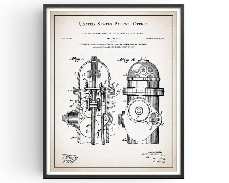 Fire Hydrant Patent Print - Fightfighter Art - Firefighting Poster -  Firefighter Gift - Fireman Decor - Fire Equipment - Unframed