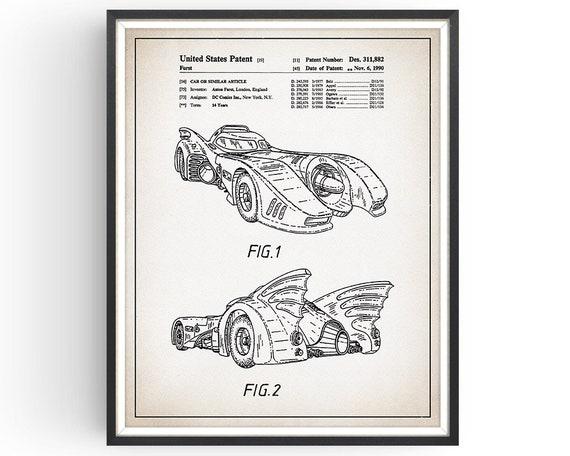 Ready To be Framed Dark Knight Patent Print Batman Batmobile 5 Print Set