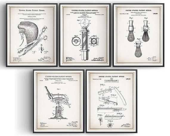 Barbers Pole Patent Print Unframed Hipster Poster Beard Shave Wall Art Gift